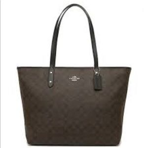 COACH Large Brown Signature City Zip Tote coated